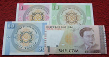 KYRGYZSTAN LOT BANKNOTES UNC - 4 PCS ! SET BANKNOTES BILLETS NOTES PIECES 4 PCS