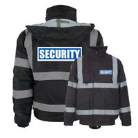 Black Reflective Security Hi Vis Bomber Jacket Printed Work Coat High Viz