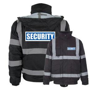 Black Reflective Security Hi Vis Bomber Jacket Printed Work Coat High Viz