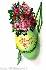 German Vintage~ Easter Egg Hanging With Roses Inside~ NEW Large Note Cards