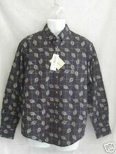 Munsingwear Mens Long Sleeved Button Front Shirt M Navy Khaki Beige NEW