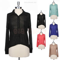Solid High Low Hem Long Sleeve Button Down Shirt Blouse Top with Chest Pocket