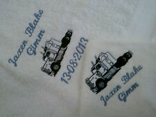 embroidered with your childs name  3pce baby blanket & towel set