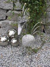 Edler Granit vogel aus Edelstahl und Granit mit Messingkugeln 50cmhoch