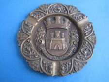 Antique Big Ashtray In Bronze With Coat Of Arms Of Portugal City Of The Guarda