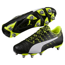 Puma evoPOWER Vigour H8 SG Black White Yellow Rugby Boots Size UK  7 - 14