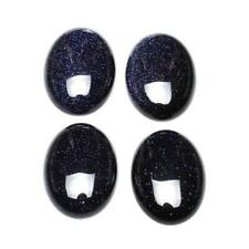 Packet 6 x Blue Goldstone Flat Back 6 x 8mm Oval 3mm Thick Cabochon CA16668-1