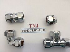 15,22or28mm CHROME Compression Fittings- Straight, Elbow, Tee, Coupling stop end