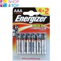 4 + 2 FREE ENERGIZER MAX AAA LR03 BATTERIEN ALKALINE POWERSEAL 1.5V MICRO NEU