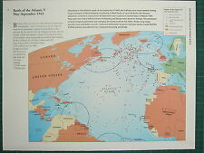 WW2 WWII MAP ~ BATTLE OF THE ATLANTIC V MAY - SEPT 1943 ALLIED CONTROL U BOATS