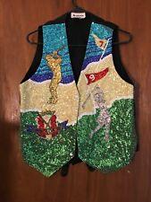 Rare Fashion Fantasy Sequin Golf Theme Vintage Vest Waistcoat Medium