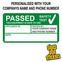 100 Personalised PAT Test Pass stickers label passed, not cheap paper ones