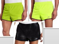 "Asics Mens 3"" Split Running Shorts MS1690 Black Print Neon or Wow, L or XL - $32"