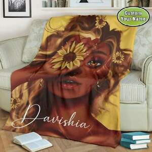 Sunflowers Custom Personalized Black Queen African American Girl Blankets Gifts