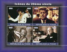Chad 2018 MNH Elvis Presley Marilyn Monroe Churchill JFK Kennedy 4v M/S Stamps