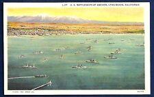 US Navy Warships Anchored off Long Beach, California Circa WWII
