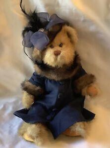 "Bearington Collection Plush Bear Blue Linen Button Down Coat W/Hat 14"" No Tags"