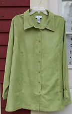 """AVENUE Green Suede Long Sleeved Button Down Lined Shirt Size 22/24 (54"""")"""