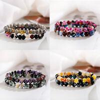 2Pcs/Set 8MM Natural Stone Matching Couple Beaded Bracelet Jewelry for Men Women