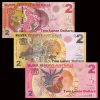 Set 3 PCS, Silver Reserve Australia 2 Lunar Dollars, 2015-2017, Banknotes, UNC