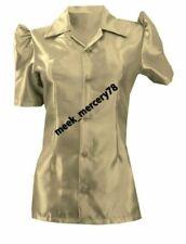 Short Sleeve Button-Down Grey Tops & Shirts for Women
