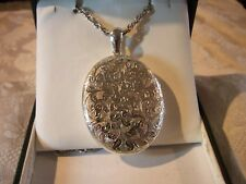 EXTREMELY LARGE ENGRAVED SILVER  LOCKET 6cm X 3.5cm  & HEAVY SILVER CHAIN VGC