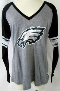 Philadelphia Eagles Womens XL Long Sleeve Distressed Screened Logo Tee AEAG 225