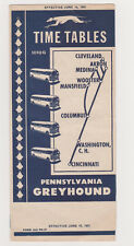 June 15, 1951 Pennsylvania Greyhound Time Tables  Price List - Ohio circuit.