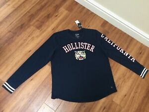 NEW Ladies Hollister Navy Blue Long Sleeved Top Tiger Large RRP £29
