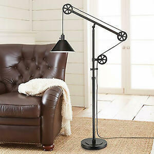 Bronze Finish Pulley Floor Lamp Adjustable Arm and Steel Shade Bridgeport