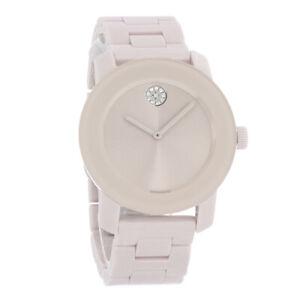Movado Bold Ladies Ceramic Blush Dial Swiss Quartz Watch 3600536