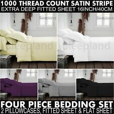 1000TC Double Egyptian Cotton Fitted & Flat Sheet & 2 Pillowcase Set New Black