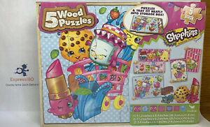 "(HV) ""SHOPKINS"" 5-Puzzle Pack Wood Puzzles 5-Pack NEW Cardinal IND. Discontinued"