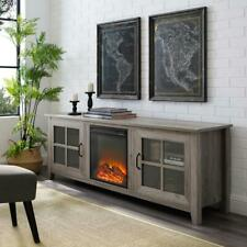 70in Farmhouse Wood TV Stand with Fireplace and Glass Doors - Grey Wash