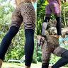 Womens High Waist Yoga Pants Mesh Leoaprd Compression Workout Stretch Leggings