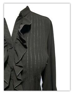 BLACK RUCHED PINTUCK Blouse Shirt War Bride Landgirl Secretary Classic Top UK 16