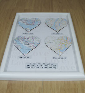 Personalised 4 Map Gift Framed Wedding Engagement Present First Anniversary Home