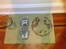 Three Serving Trays (2 collectible) and a free Glass Vase
