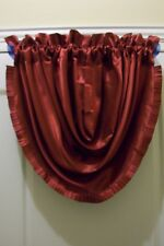 "VALANCE, BURGUNDY WATERFALL, SWAG,  PLEATED TRIM, 60""X 36"", FAUX SILK, NWOT"