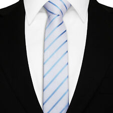 Men's Single Stripe Skinny Woven Microfibre Polyester Tie - Evening Work Party