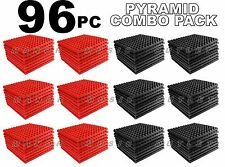 The Big Deal CoMBo pack Acoustic Foam 96 pack RED and GRAY pyramid tiles 12x12x1