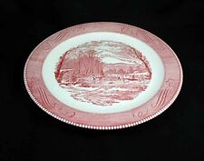 Royal China- CURRIER & IVES Pink Chop Plate/ Round Platter- 12 1/4 inch