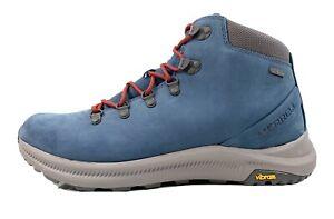 Merrell Ontario Mid Waterproof Vibram Hiking Leather Boots Men Sz 12 Sailor Blue