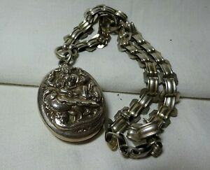 Victorian Silver Anglo-Indian Hindu God Photo Locket c1880 and Silver Book Chain