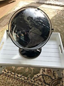 JOHN LEWIS CONTEMPORARY BLACK & SILVER GLOBE ROTATES VERY GOOD CONDITION