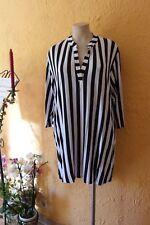MAGNA Long Tunika Shirt 48 50 NEU schwarz weiß Längsstreifen Stretch LAGENLOOK