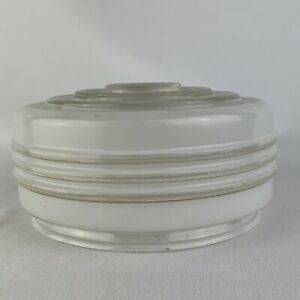 """Vintage Modern White and Clear Kitchen Glass Ceiling Light Shade 6"""" drum"""
