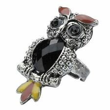 Vintage Style Tin Plate Owl Adjustable Fashion Ring - One Size Alloy Joe Cool