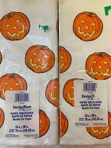 "Halloween Tablecloth Paper DesignWare Pumpkin Jack-o-lantern 54""x96"" (2 Pack)"