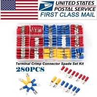 280×Assorted Crimp Spade Terminal Insulated Electrical Wire Connector Kit Set